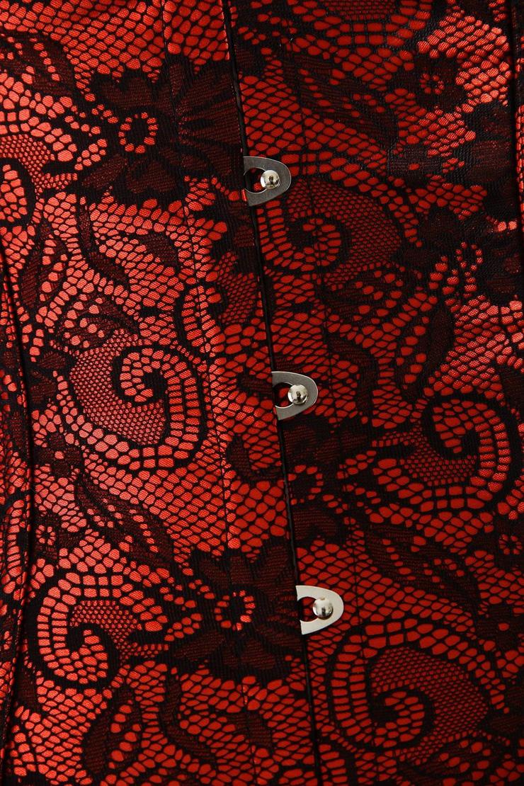 underbust corset, Red lace underbust corset, Lace underbust corset, #N4831