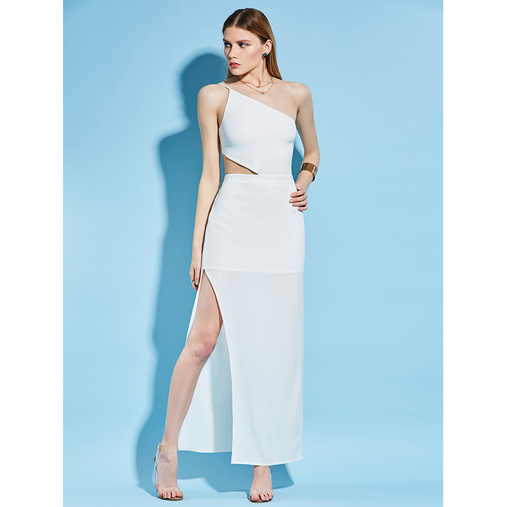 White Spaghetti Strap Asymmetric Backless Women's Maxi Dress N14224