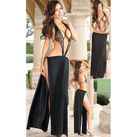 Unique Ombre Sequin Halter Gown N2137