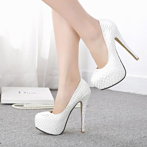 Unique White Snake Skin Pattern Pumps High Heels SWS20293