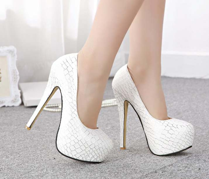 Cheap White High Heels - Qu Heel
