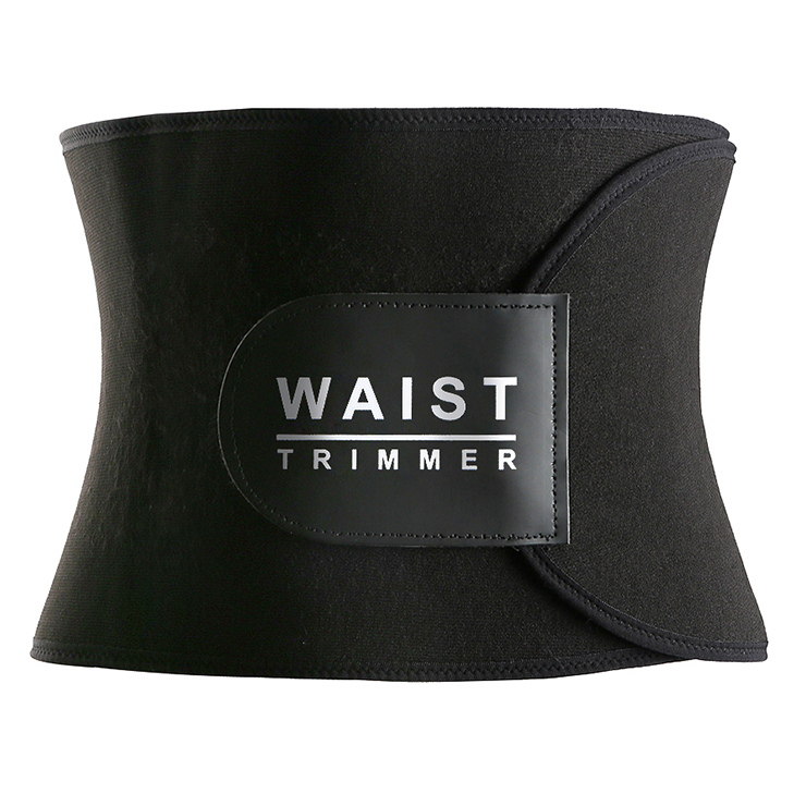 Unisex Black Latex Sports Waist Trimmer Stomach Wrap Enhancer Body Shaper Belt N15400