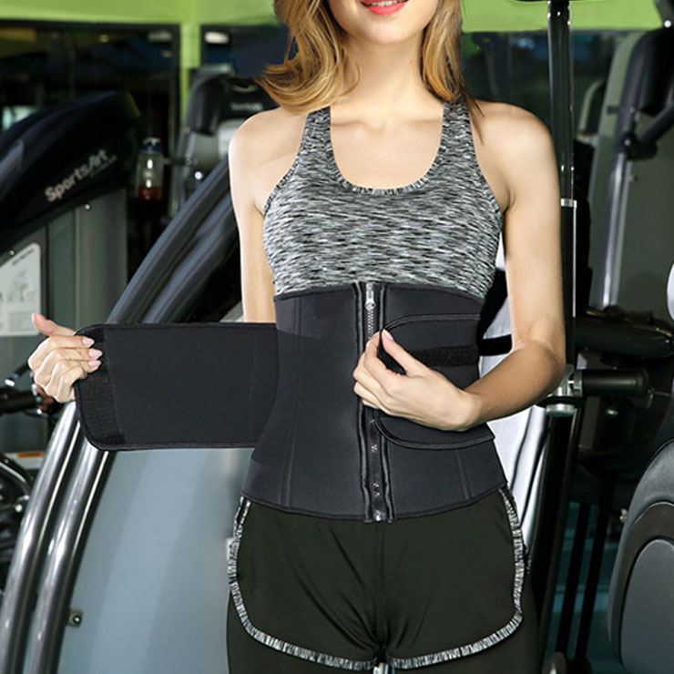 Unisex Black Neoprene Sports Waist Trimmer Workout Enhancer Body Shaper Belt N18671