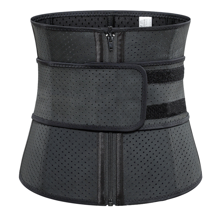 Unisex Black Breathable Meshed Neoprene Sports Waist Trimmer Workout Enhancer Body Shaper Belt N18672