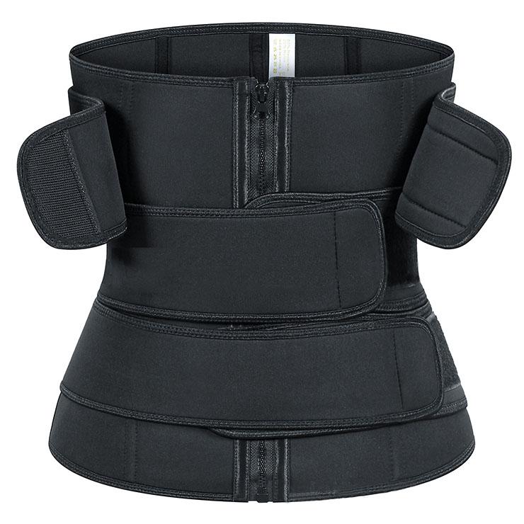 Unisex Black Neoprene Velcro Sports Waist Trimmer Bones Body Shaper Belt N20876