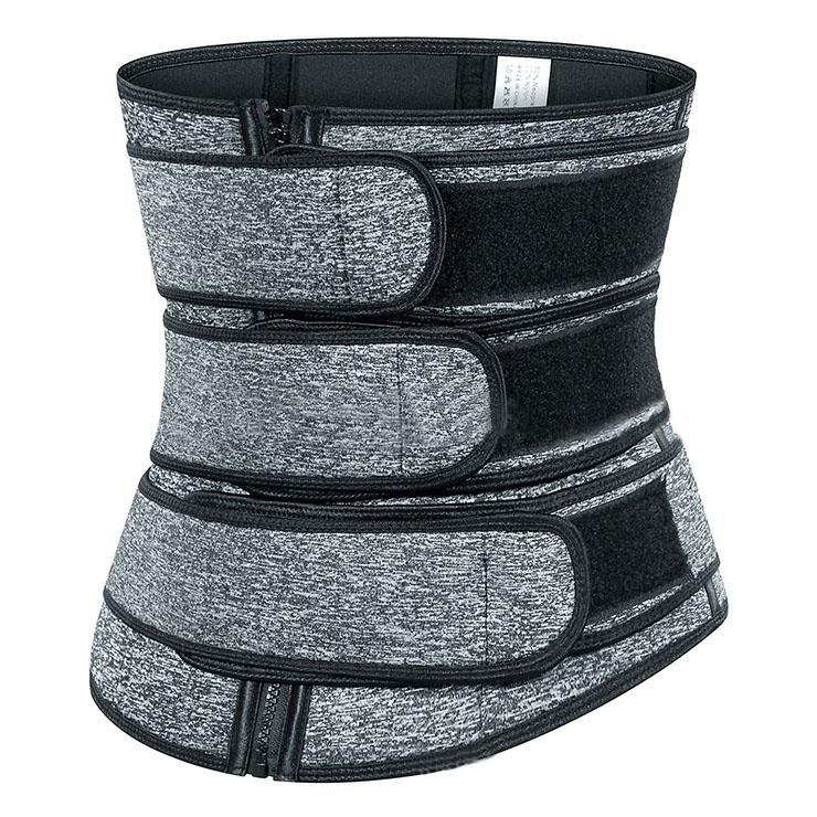 Unisex Grey Neoprene Velcro Sports Waist Trimmer Bones Body Shaper Belt N20877