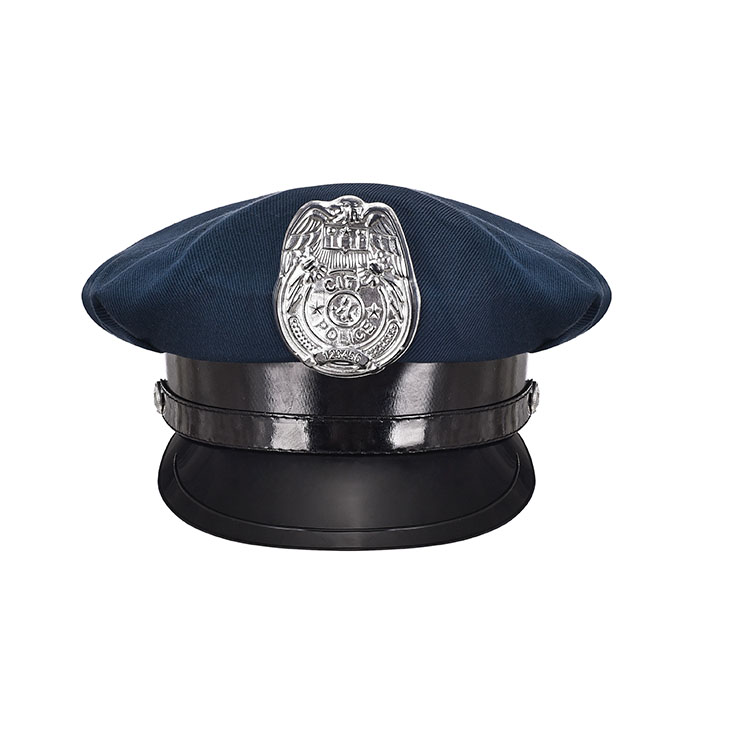 Unisex Navy-blue Police Cap Adult Roleplay Hats Costume Accessories J20864
