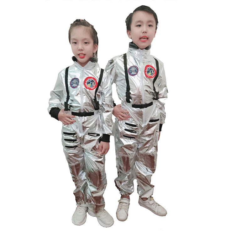 Unisex Silver One-piece Kids Astronaut Space Suit Costume Cosplay Jumpsuit N20491