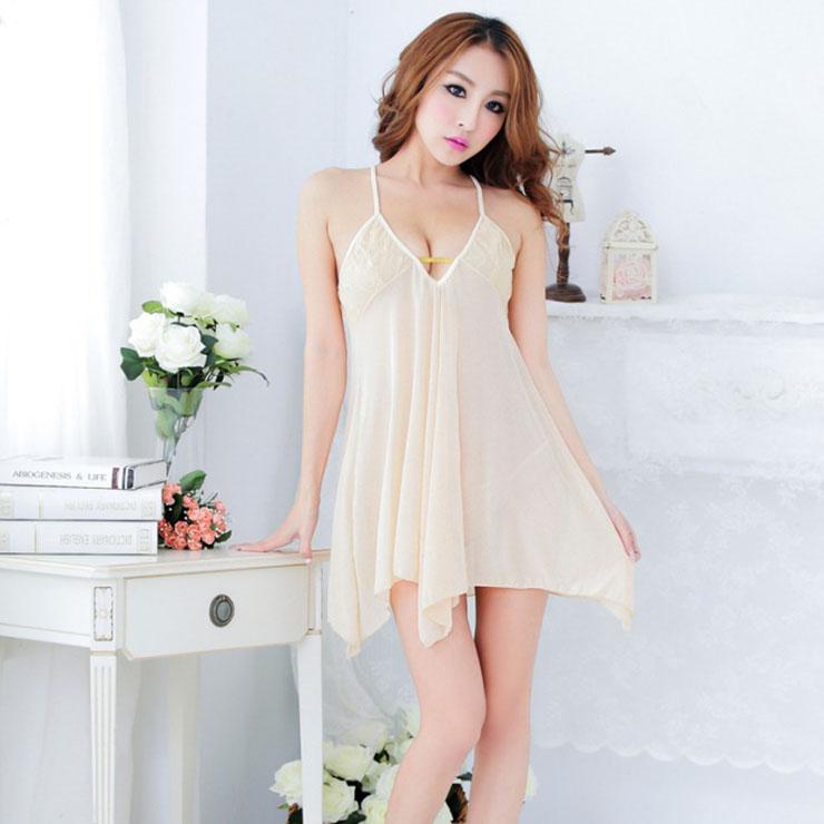 Sexy Beige V Neck Backless See-through Mesh Babydoll Nightwear Lingerie N17560