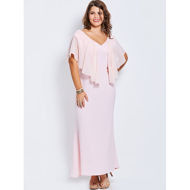 Women\'s Pink V Neck Ankle-Length Falbala Plus Size Chiffon Maxi ...