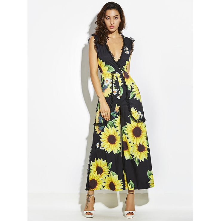 Hot Summer Deep V Pleated Patchwork Sunflower Print Wide Legs Jumpsuit N14400