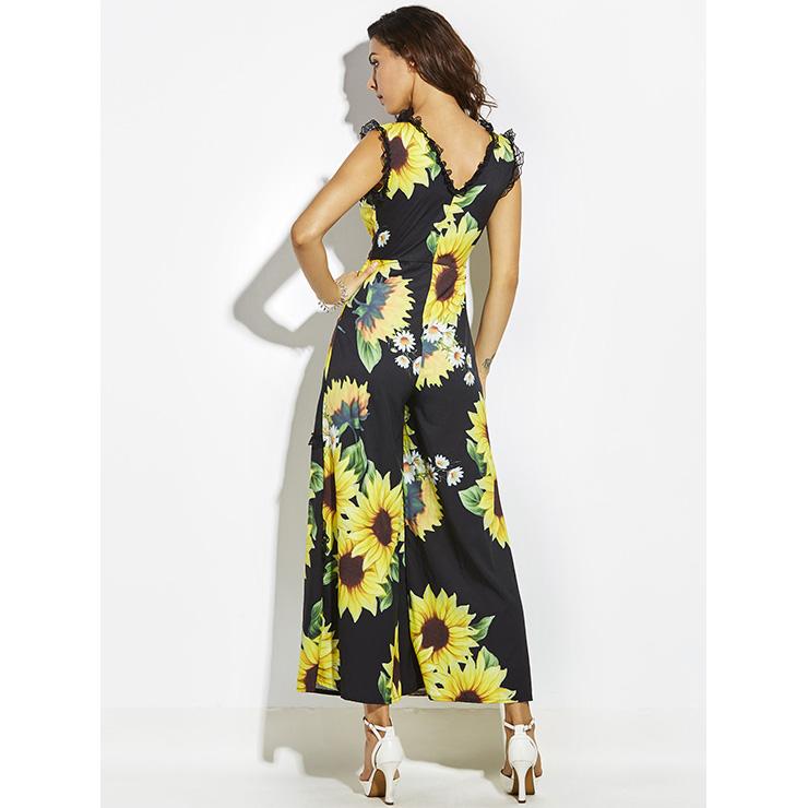 Wide LegJumpsuit, Jumpsuits for Women, V Neckline Jumpsuit, Slim Floral Print Jumpsuit, Sleeveless Jumpsuit, Fashion Jumpsuit, #N14400