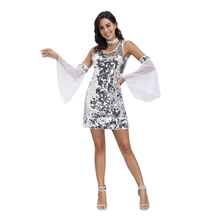 Women's Sexy V Neck Sequin Glitter Stretchy Mini Party Dress Adult Cosplay Costume N20492