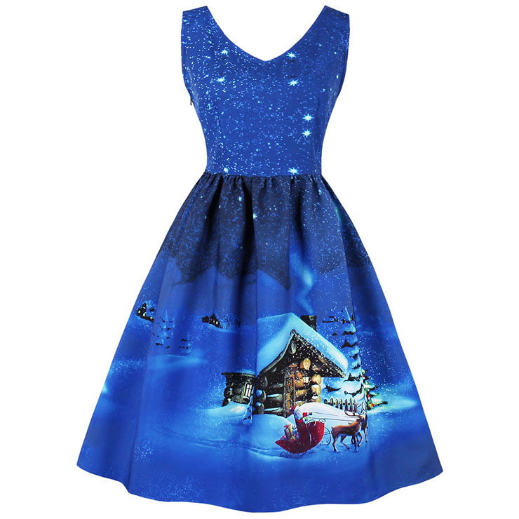 Women's V Neck Sleeveless Christmas Snow Printed Flared Ball Dress N15034