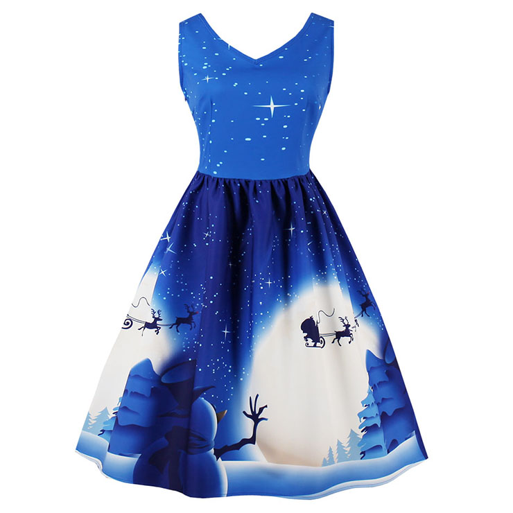 Women's V Neck Sleeveless Christmas Element Printed Flared Ball Dress N15117