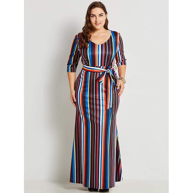 Women's V Neck Half Sleeve Multicolor Stripe Plus Size Maxi Dress N15777