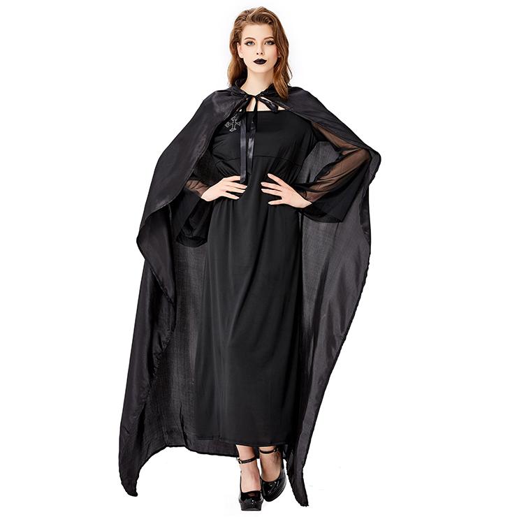 Gothic Black Vampire Dress Adult Devil Cloak and Dress Halloween Costume N18200