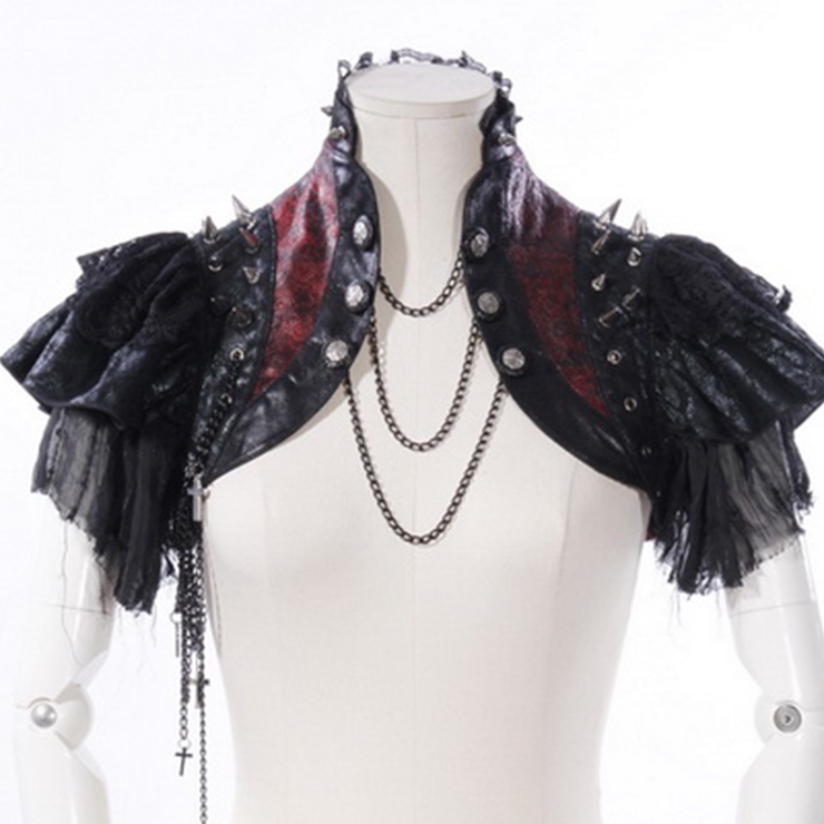 Gothic Black Leather Lace Cape Black Chain Steampunk Rivet and Cross Embellished Shrug N14164