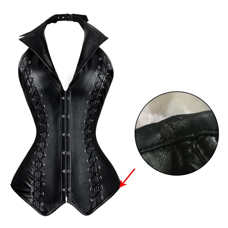 Women's Black Leather Vest Corset With A Little Defect N4392