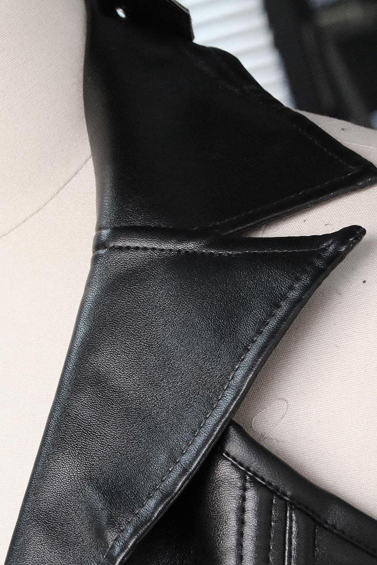 2pcs Vest Leather Corset, Vest Leather Corset Black, Collar Vest Leather Corset, #N6545