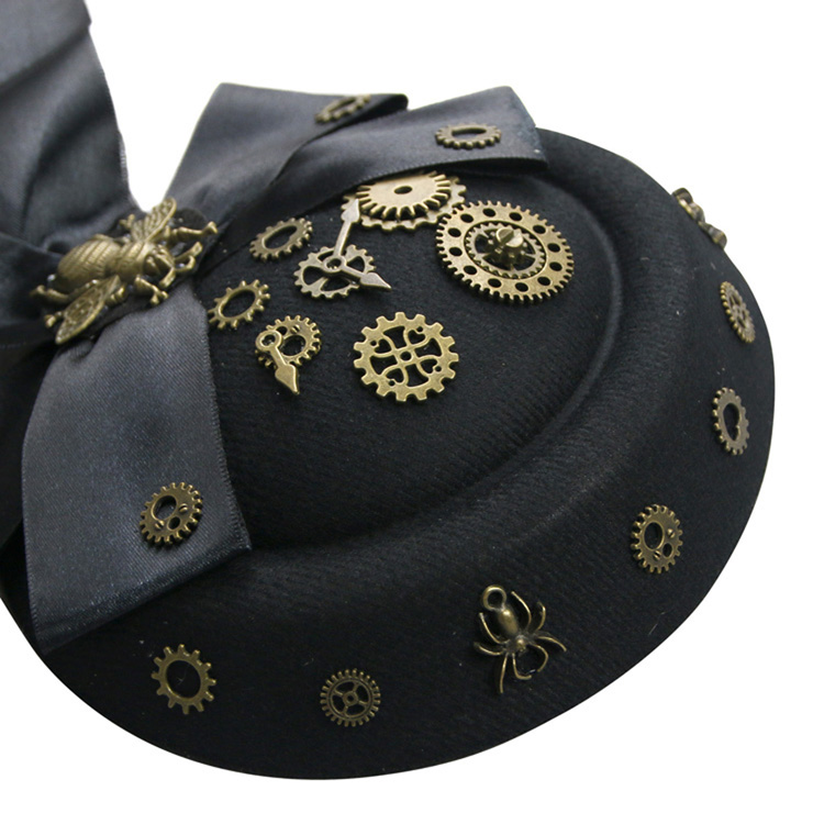 Steampunk Cosplay Costume Hat, Retro Fascinator Fancy Ball Bowler Hat, Vintage Industrial Style Vampire Costume Hat, Fashion Party Costume Hat Accessory, Fancy Victorian Gothic Fascinator, Gothic Style Costume Hat, #J19526
