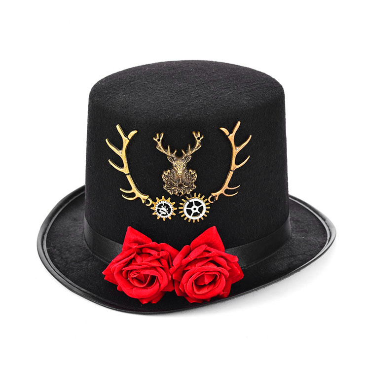 Victorian Gothic Red Rose and Bronze Metal Reindeer Antlers Fancy Party Costume Top Hat J19527