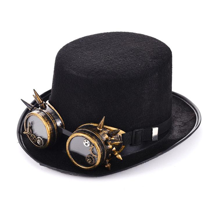 Steampunk Bronze Metal Rivet Goggles Masquerade Fancy Party Costume Top Hat J19528
