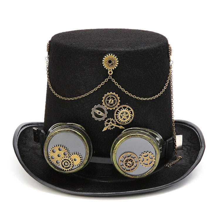 Steampunk Bronze Metal Goggles and Gears Masquerade Fancy Party Costume Top Hat J19529
