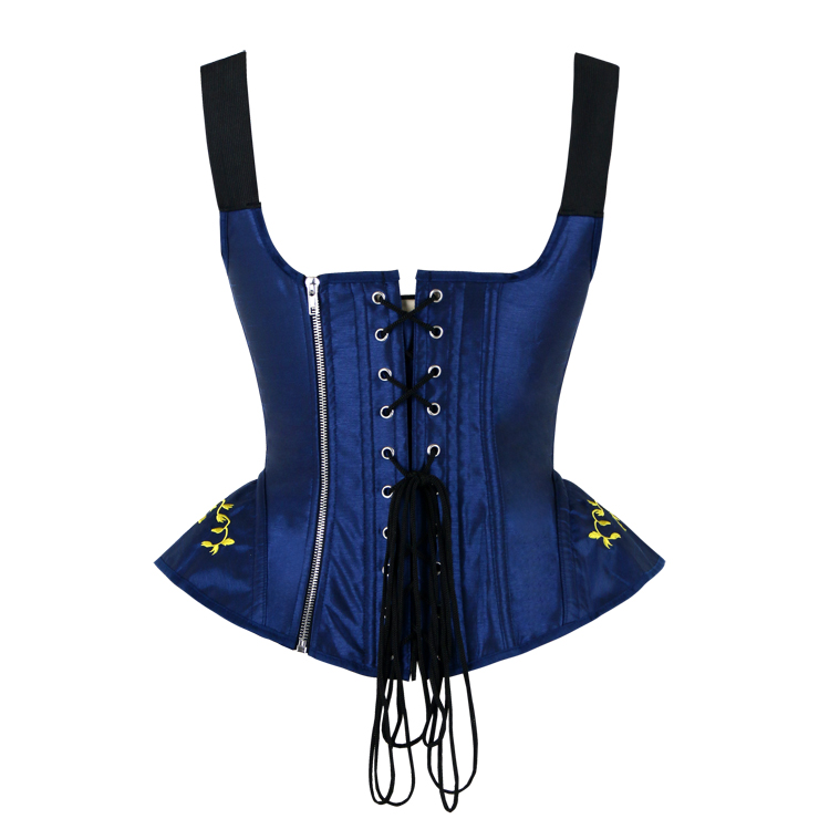 Brocade Embroidery Underbust Corset, Steel Bone Corset, Steel Boned Brocade Corset, Steampunk Overbust Corset, #N14112