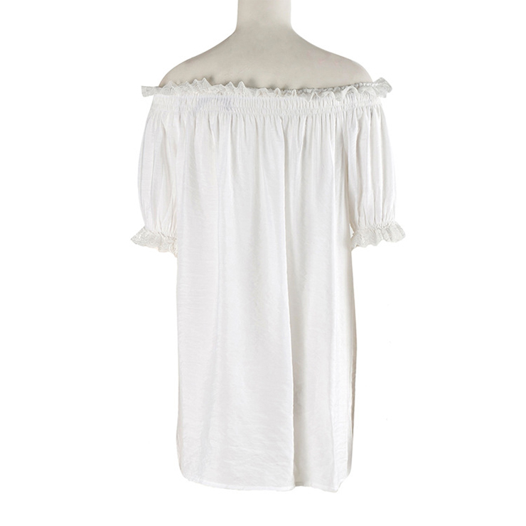 Elastic White Shirt, Cotton Shirt, Baby Doll Dress, Lace Blouse, Crop Top, Victorian Blouse, Sexy Tonic, Sexy Off the Shoulder Blouse, #N11857