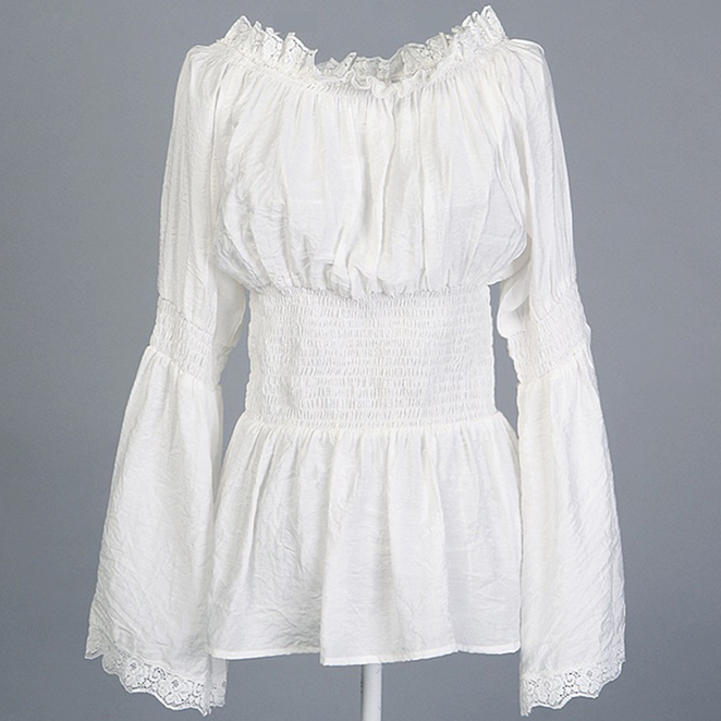 Victorian Peasant Ruffle Off Shoulder Lace Blouse Top Tunic N11850