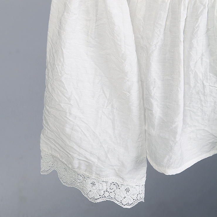 Elastic White Shirt, Cotton Shirt, Baby Doll Shirt, Lace Blouse, Crop Top, Victorian Blouse, Sexy Tonic, #N11850