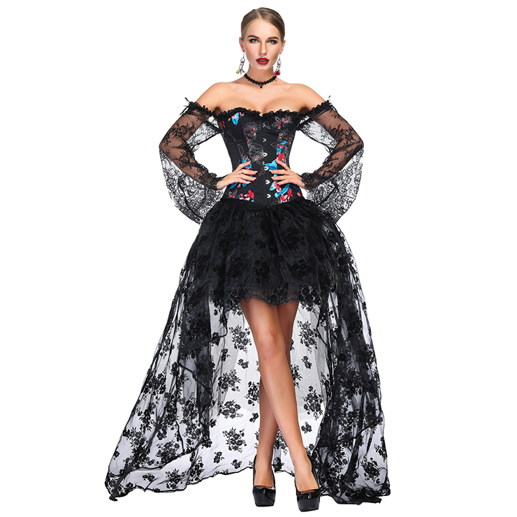 Victorian Gothic Black Floral Print Plastic Boned Lace Overbust Corset with Organza High Low Skirt Sets N18641