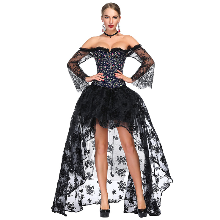 Victorian Gothic Black Floral Print Plastic Boned Lace Overbust Corset with Organza High Low Skirt Sets N18642