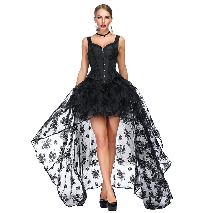 Victorian Gothic Black Wide Shoulder Straps Jacquard Overbust Corset with Organza High Low Skirt Sets N18643