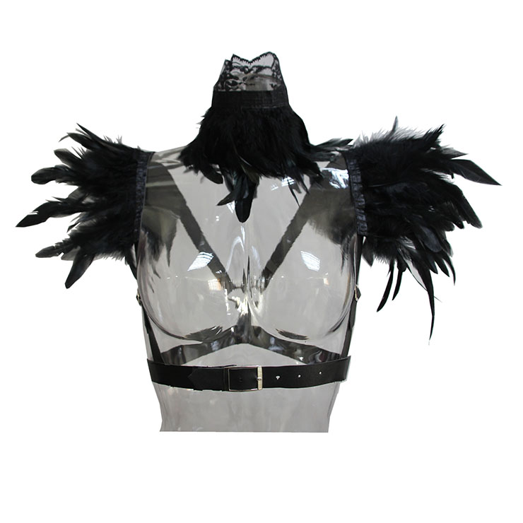 2Pcs Victorian Gothic Black Feather Collar Scarf And Shoulder Armor Corset Accessories N20196