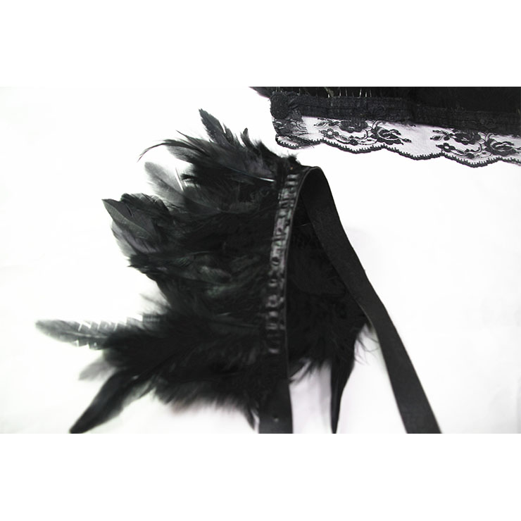 Victorian Gothic Shoulder Armor, Feather Lace Collar Scarf, Masquerade Shoulder Armor, Gothic Retro Corset Accessories, Black Feather Shoulder Armor, #N20196