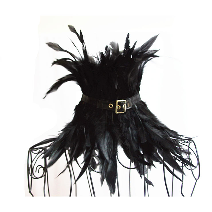 Victorian Gothic Black Feather Scarf, Feather Collar Scarf, Masquerade  Leather Buckle Neckerchief, Gothic Retro Corset Accessories, Black Feather Shoulder Neckerchief, #N20203