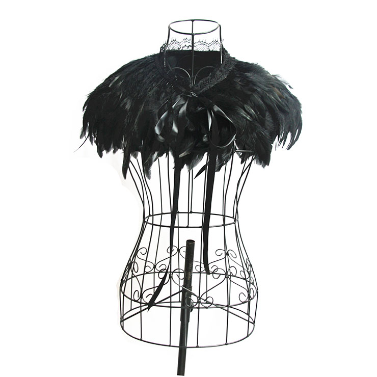 Victorian Gothic Black Feather Cloak One-piece Lace-up Shawl Corset Accessories N20200