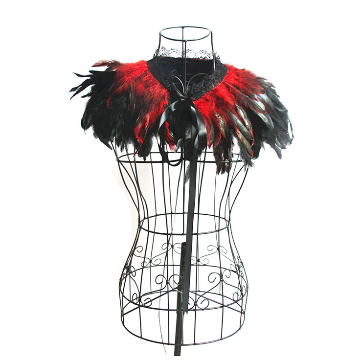 Victorian Gothic Red Feather Cloak One-piece Lace-up Shawl Corset Accessories N20201