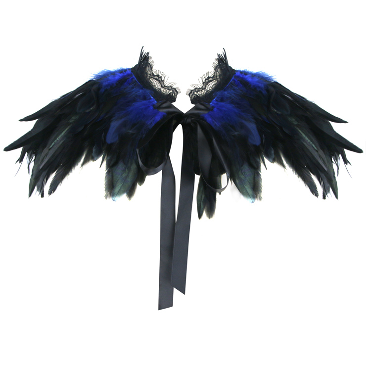 Victorian Gothic Blue Feather Cloak One-piece Lace-up Shawl Corset Accessories N20202