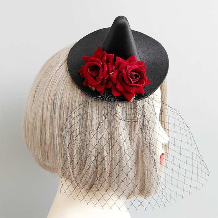 Retro Fancy Fascinator Pointed Hat Hair Clip, Party Hairpin, Fashion Ball Hair Accessory, Fancy Victorian Style Fascinator Hair Clip, Vintage Mesh Fascinator Hairpin for Women, Gothic Style Hair Clip, #J18799