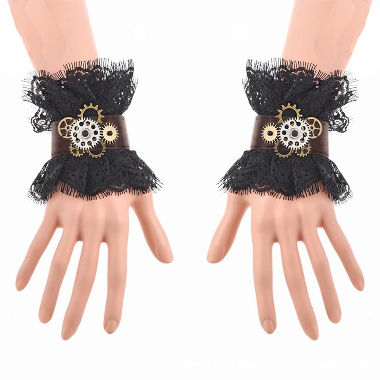 Victorian Gothic Black Floral Lace Wristband Bronze Gear Cloth Bracelet J19846