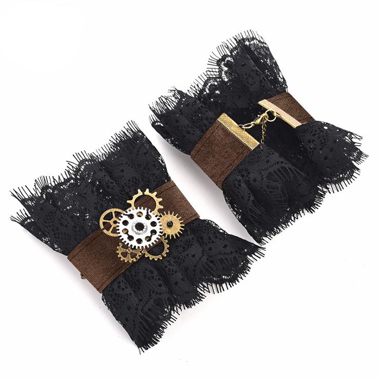 Vintage Lace Bracelet, Gothic Rose Bracelet, Cheap Wristband, Gothic Black Lace Bracelet, Victorian Floral Lace Bracelet, Retro Black Floral Lace Wristband, Bracelet with Ring, #J19846