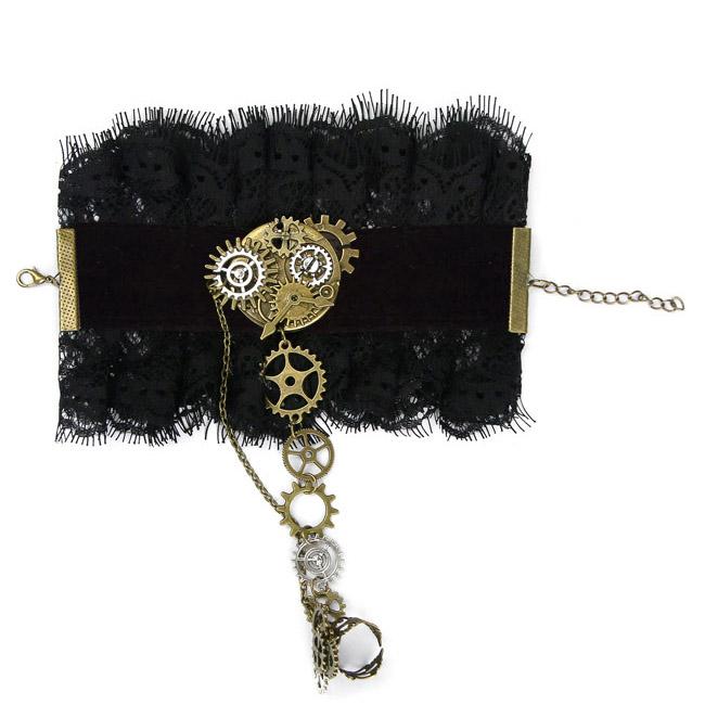 Vintage Lace Bracelet, Gothic Rose Bracelet, Cheap Wristband, Gothic Black Lace Bracelet, Victorian Floral Lace Bracelet, Retro Black Floral Lace Wristband, Bracelet with Ring, #J19845