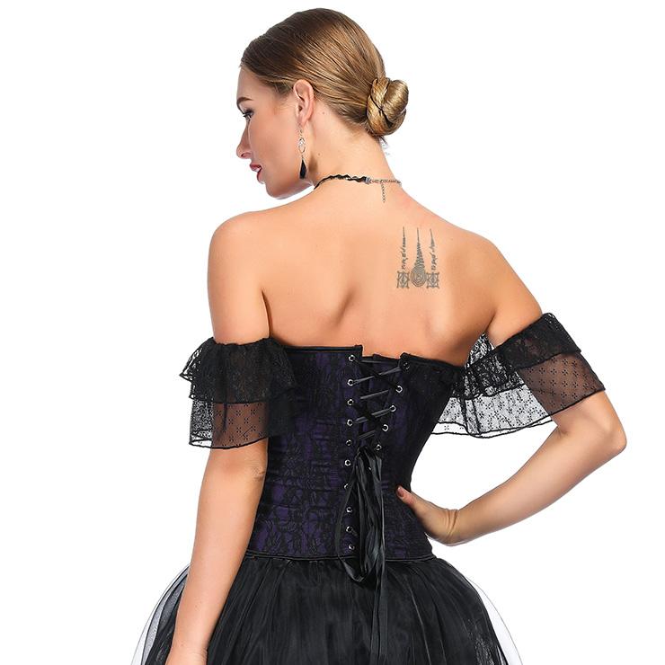 Heavy Plastic Boned Corset, Cheap Outerwear Corset, Retro Overbust Corset, Sexy Off Shoulder Corset, Black Lace Jacquard Overbust Corset, Victorian Gothic Waist Cincher, #N18715