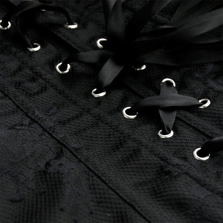 Heavy Plastic Boned Corset, Cheap Outerwear Corset, Retro Overbust Corset, Sexy Off Shoulder Corset, Black Lace Jacquard Overbust Corset, Victorian Gothic Waist Cincher, #N19389