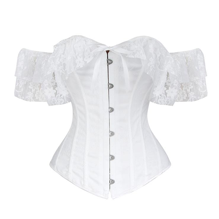 Victorian Style White Satin Off Shoulder Floral Lace Bridal Waist Cincher Overbust Corset N19390