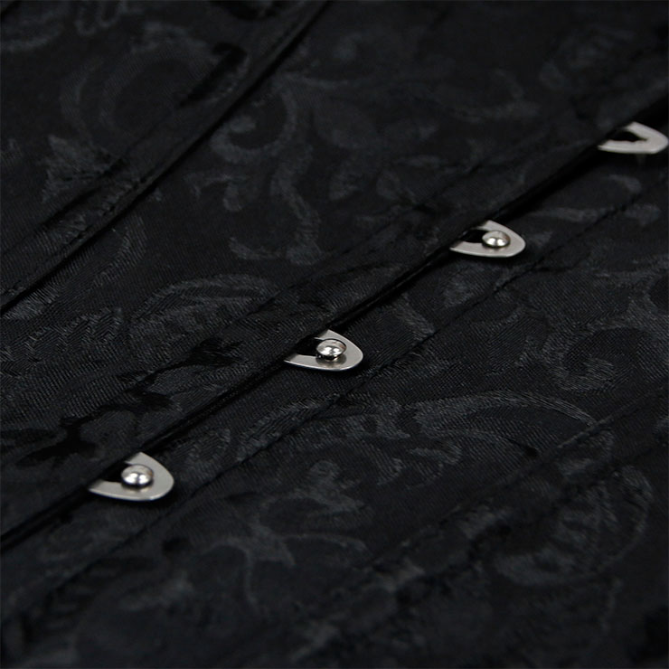 Heavy Plastic Boned Corset, Cheap Outerwear Corset, Retro Overbust Corset, Sexy Off Shoulder Corset, Black Lace Jacquard Overbust Corset, Victorian Gothic Waist Cincher, #N20249
