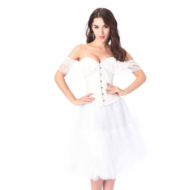 Victorian Gothic White Jacquard Off Shoulder Floral Lace Overbust Corset Tulle Skirt Set N20251